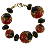 MARE Red and Black Bracelet 7.5 Inches Gold Fill  (COPY)