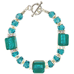 Deep Aquamarine Cube Bracelet with Swarovski Crystals
