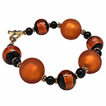 Fall Bracelet Satinato Topaz and Black Sash Beads 6.5 Inches
