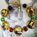 Bright Multi Colors 24kt Gold Foil Murano Glass Bracelet 7.5 Inches