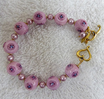Bracelet Pink Millefiori Murano Glass Beads with Heart Clasp
