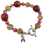 Pink Murano Glass Beads Awareness Ribbon Bracelet 7.5 Inches