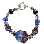 Purple Lido Bicolor Bracelet 8 Inches Murano Glass