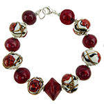 Red Peony Murano Glass Bead Bracelet 7.5 Inches