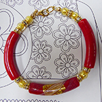 Handmade Authentic Murano Glass Reticello Red Curved Tube Bracelet 7 1/2