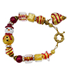 Red and Gold Snowman Bracelet Murano Glass Bead Jewelry