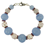 Pink and Blue Spring Colors Bracelet Murano Glass Beads
