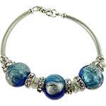 Aqua and Cobalt Blue Machiavelli Bling Curved Tube Bracelet 7.5Inch Murano Glass