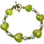 Murano Glass Beaded Green and Gold Hearts Bracelet 7.5 Inches