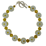 Yellow and White Millefiori Daisy Disc Bracelet 7 1/2 Inches