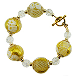Zanfirico Round Gold with White Daisy Bracelet 7.5 Inches