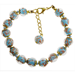 Dark Aqua Aventurina Bracelet 7.5 Inch  with 1 1/4 Inch Extender, Gold Tone Clasp Authentic Murano Glass Beaded