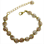 Pale Gray Aventurina Bracelet 7.5 Inch  with 1 1/4 Inch Extender, Gold Tone Clasp Authentic Murano Glass Beaded