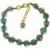 Light Aqua Aventurina Bracelet 7.5 Inch  with 1 1/4 Inch Extender, Gold Tone Clasp Authentic Murano Glass Beaded