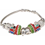 Sights and Sounds of Christmas Sterling Silver Murano Glass Charm Bracelet