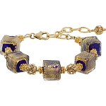 Ca'd'oro Cobalt Blue Cube Murano Glass Bracelet 6 1/2 Inches with 2 Inch Extension