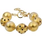 Chocolate Leopard 7 Inch Bracelet 2 Inch Extender Murano Glass Beads in 24kt Gold Foil