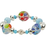 Millefior Murano Glass Beads in Clear and Multi Colors with Sterling Silver Stretchy Bracelet