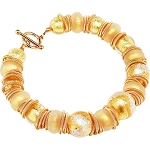 Golden Desire CellaBella Gold Foil Bracelet Murano Glass Beads