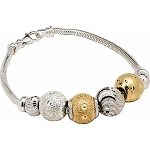 Gold and Sterling Silver Charm Bracelet 7.5 Inches