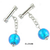Murano Glass Aqua Silver Cufflinks