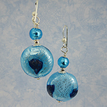 Murano Glass Aqua and Blue Aventurina Blown Earrings