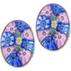 Pink and Bue Oval Cabochon Post Earrings, Sterling Silver Murano Glass Jewelry