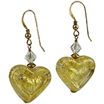 Double Heart Crystal and 24kt Gold Foil Murano Glass Earrings with Gold Fill Ear Wires