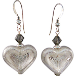 White Gold Foil Double Heart Murano Glass Earrings with Sterling Silver Earwires