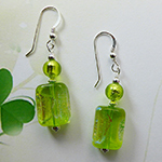 Spring Green Dichroic Rectangle Earrings, Sterling Silver Ear Wires