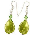 Peridot Twist White Gold Murano Glass Earrings