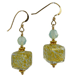 Ca' d'Oro Cube Earrings, Celeste & Gold with Gold Fill Ear Wires