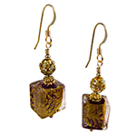 Ca' d'Oro Cube Earrings, Transparent Amethyst and 24kt Gold Foil Murano Glass