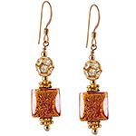Ca' d'Oro Cube Earrings, Red and Gold