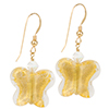 Gold Foil Butterfly Earrings with Gold Fill EarWires and Swarovski Crystals