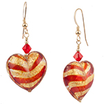 Tigrato Stripes Red and Gold Earrings Gold Fill Earwires and Swarovski Crystals