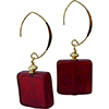 Red Gold Foil Squares Earrings with Gold Fill V Earrings Authentic Murano Glass