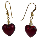 Be Mine Red Heart Earrings Murano Glass with Gold Fill Ear Wires and Swarovski Crystals