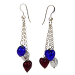 Patriotic Heart Earrings in Red White and Blue with Sterling Silver Ear Wires