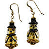 Murano Glass Gold Foil Snowmen Earrings Gold with Black Hat, Gold Fill Ear Wires