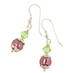 Spring Colors Earrings Green and Amethyst Murano Glass