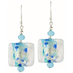 Fantasy Sparkles Earrings, Aqua & Silver