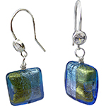 Aqua and Blue 4 Colors Square Earring over Silver and Gold Murano Glass with CZ Sterling Silver Ear Wires