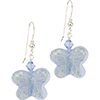 Pale Blue Butterfly Earrings with Sterling Silver EarWires and Swarovski Crystals