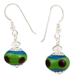 Lampwork Murano Glass Beads Green and Blue with Red Dots Earrings Sterling Silver Ear Wires