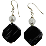 Black Twisted Murano Glass Earring with White Gold Foil Accent