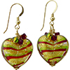 Tigrato Stripes Green and Red  Earrings Gold Fill Earwires and Swarovski Crystals, Pair