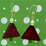 Christmas Tree Murano Glass Earrings in Red and Gold