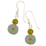 Yellow Daisy Coin Murano Glass Earrings