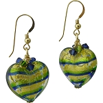 Tigrato Stripes Emerald & Cobalt Earrings Gold Fill Earwires